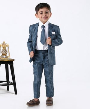 Rikidoos Full Sleeves Striped Three Piece Party Suit With Tie - Blue