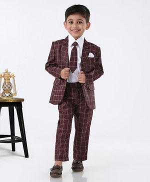 Rikidoos Full Sleeves Checked Blazer With Shirt & Pants With Tie - Maroon
