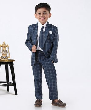 Rikidoos Full Sleeves Checked Three Piece Party Suit With Tie - Dark Blue