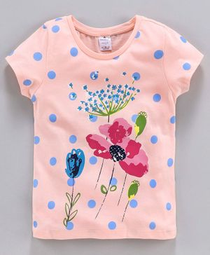 Smarty Short Sleeves Tee Floral Print - Peach