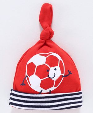 Babyoye Cotton Knot Cap Football Print - Red