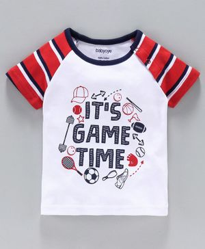 Babyoye Full Sleeves Striped Tee Text Print - White Red