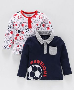 Babyoye Cotton T Shirt Football Print Pack of 2 - White