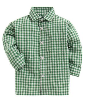 KIDS CLAN Checked Full Sleeves Shirt - Green