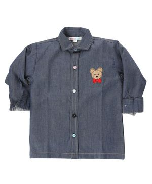 KIDS CLAN Teddy Patch Full Sleeves Shirt - Navy Blue