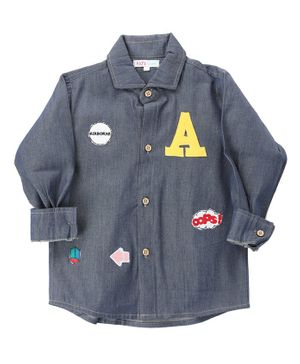 KIDS CLAN Patch Work Full Sleeves Shirt - Navy Blue