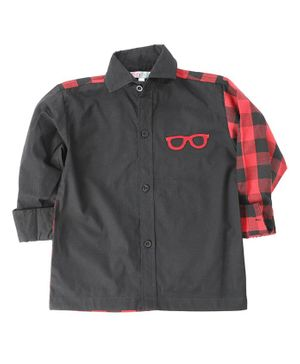 KIDS CLAN Checked Full Sleeves Shirt - Black & Red