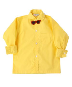 KIDS CLAN Sunglass Bow Attached Full Sleeves Shirt - Yellow