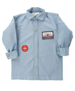 KIDS CLAN Casette Patch Full Sleeves Shirt - Sky Blue