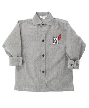 KIDS CLAN Letter Patch Full Sleeves Shirt - Grey