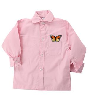 KIDS CLAN Butterfly Patch Full Sleeves Shirt - Pink
