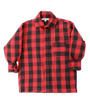 KIDS CLAN Checked Full Sleeves Shirt - Red