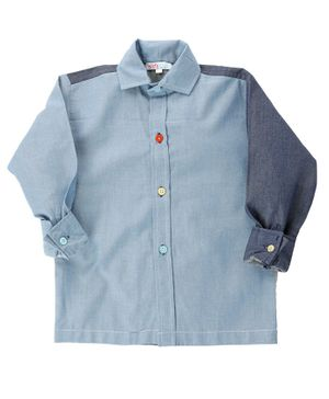 KIDS CLAN Solid Full Sleeves Shirt - Blue
