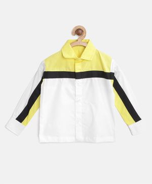 KIDS CLAN Solid Full Sleeves Shirt - White & Yellow