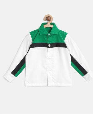 KIDS CLAN Solid Full Sleeves Shirt - White & Green