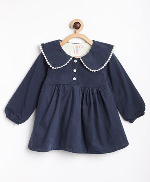 Kids On Board Full Sleeves Peter Pan Collared Neck Fleece Dress - Navy Blue