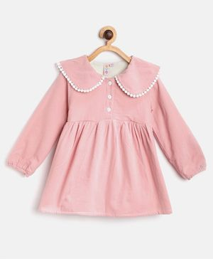 Kids On Board Full Sleeves Peter Pan Collared Neck Fleece Dress - Pink