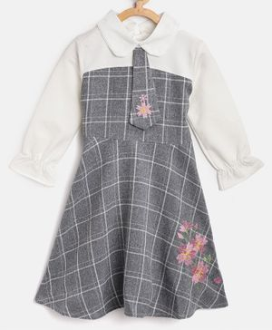 Kids On Board Full Sleeves Checked Tie Detailed Dress - Grey