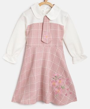 Kids On Board Full Sleeves Checked Tie Detailed Dress - Pink