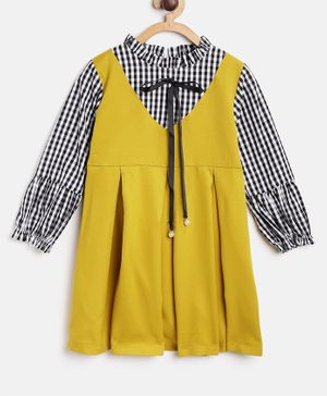 Kids On Board Full Sleeves Pinafore Style Checked Dress - Yellow