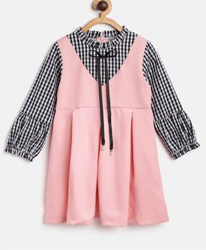 Kids On Board Full Sleeves Pinafore Style Checked Dress - Pink