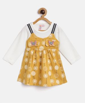 Kids On Board Full Sleeves Circle Printed Dress - Yellow