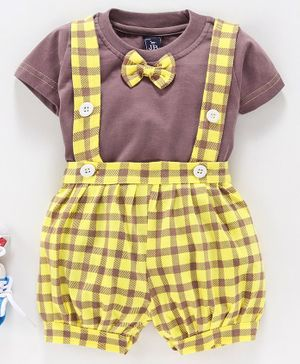 Jb Club Bow Attached Half Sleeves T-Shirt With Checked Suspender Shorts - Yellow