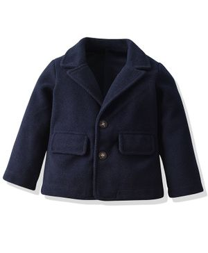 Pre Order - Awabox Solid Full Sleeves Jacket - Navy Blue