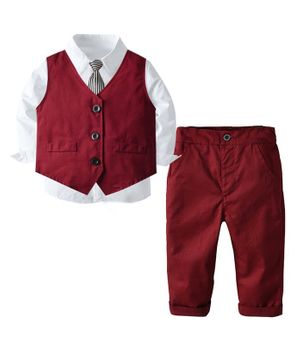 Pre Order - Awabox Solid Full Sleeves Shirt With Tie & Waistcoat With Pants - Burgundy