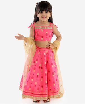 Lil Peacock Pineapple Printed Sleeveless Choli With Lehenga & Gold Netted Dupatta  - Pink