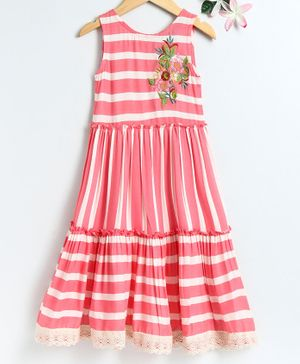 Lil Peacock Striped Sleeveless Dress - Pink