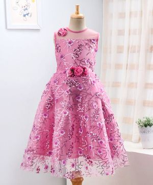 Enfance Sequin Detailed Flower Applique Sleeveless Gown - Pink