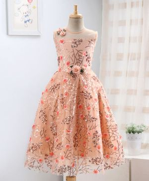 Enfance Sequin Detailed Flower Applique Sleeveless Gown - Peach
