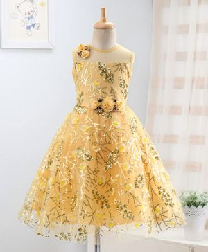 Enfance Sequin Detailed Flower Applique Sleeveless Gown - Yellow