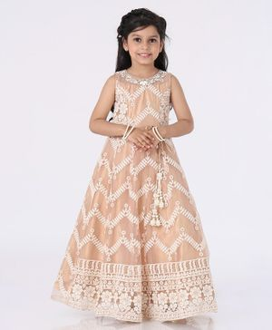 Enfance Sleeveless Flower Embroidered Flared One Piece Gown -  Brown