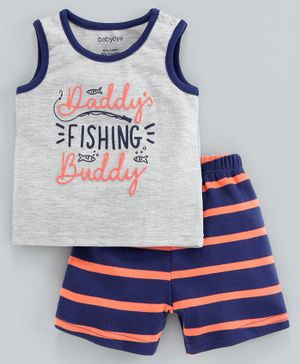 Babyoye Sleeveless Tee & Shorts Text Print - Grey Blue