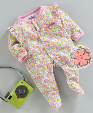 Child World Full Sleeves Footed Sleepsuit Floral Print - Pink
