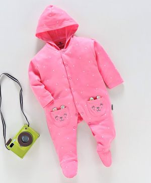 Child World Hooded Full Sleeves Footed Sleepsuit Kitty Face Print - Pink