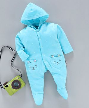Child World Hooded Full Sleeves Footed Sleepsuit Kitty Face Print - Turquoise Blue