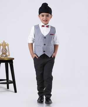 Rikidoos Full Sleeves Shirt With Striped Waistcoat & Pants With Bow Tie - Blue & White