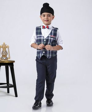 Rikidoos Full Sleeves Shirt With Checkered Waistcoat & Pants With Bow Tie - Navy Blue & White