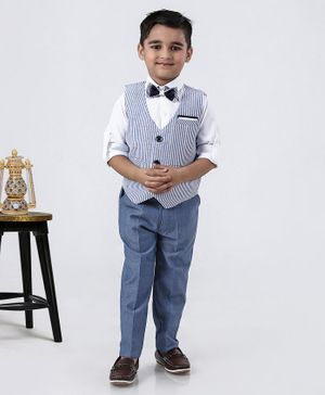 Rikidoos Full Sleeves Shirt With Striped Waistcoat Pants & Bow Tie - White & Blue