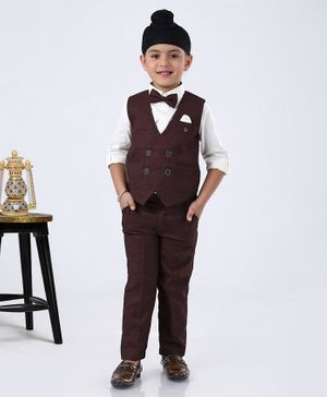 Robo Fry 3 Piece Checked Party Suit with Bow - Maroon