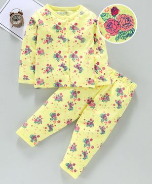Mom's Love Full Sleeves Night Suit Floral Print - Yellow