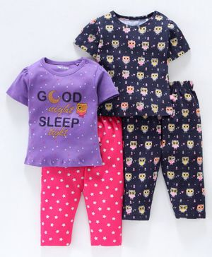 Mom's Love Half Sleeves Tees And Pajamas Text & Owl Print Pack of 2 - Purple Navy Blue