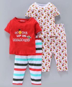 Mom's Love Half Sleeves Tees And Pajamas Text & Flamingo Print Pack of 2 - Red White