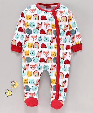 Babyhug 100%Cotton Sleepsuit Animal Print - Red