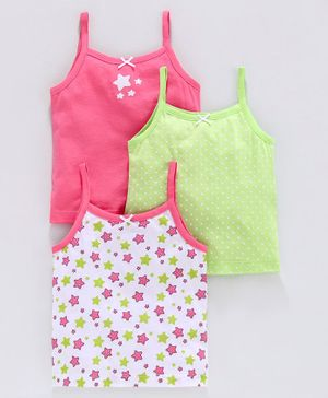 Babyoye Cotton Singlet Sleeves Slip Star Print Pack of 3 - Pink Green