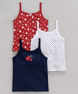 Babyoye Sleeveless Slips Heart Print Pack of 3 - Red Blue White