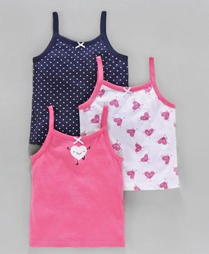 Babyoye Cotton Camisoles Printed Pack of 3 - Pink White Navy